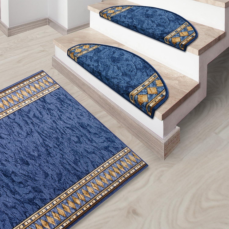 Stufenmatten blau mit aufwendiger Randmusterung     Qualitätsprodukt aus Deutschland   GUT Siegel   kombinierbar mit Läufer   65x23,5 cm   halbrund   15er Set B012CKHR24 Stufenmatten f7d12f