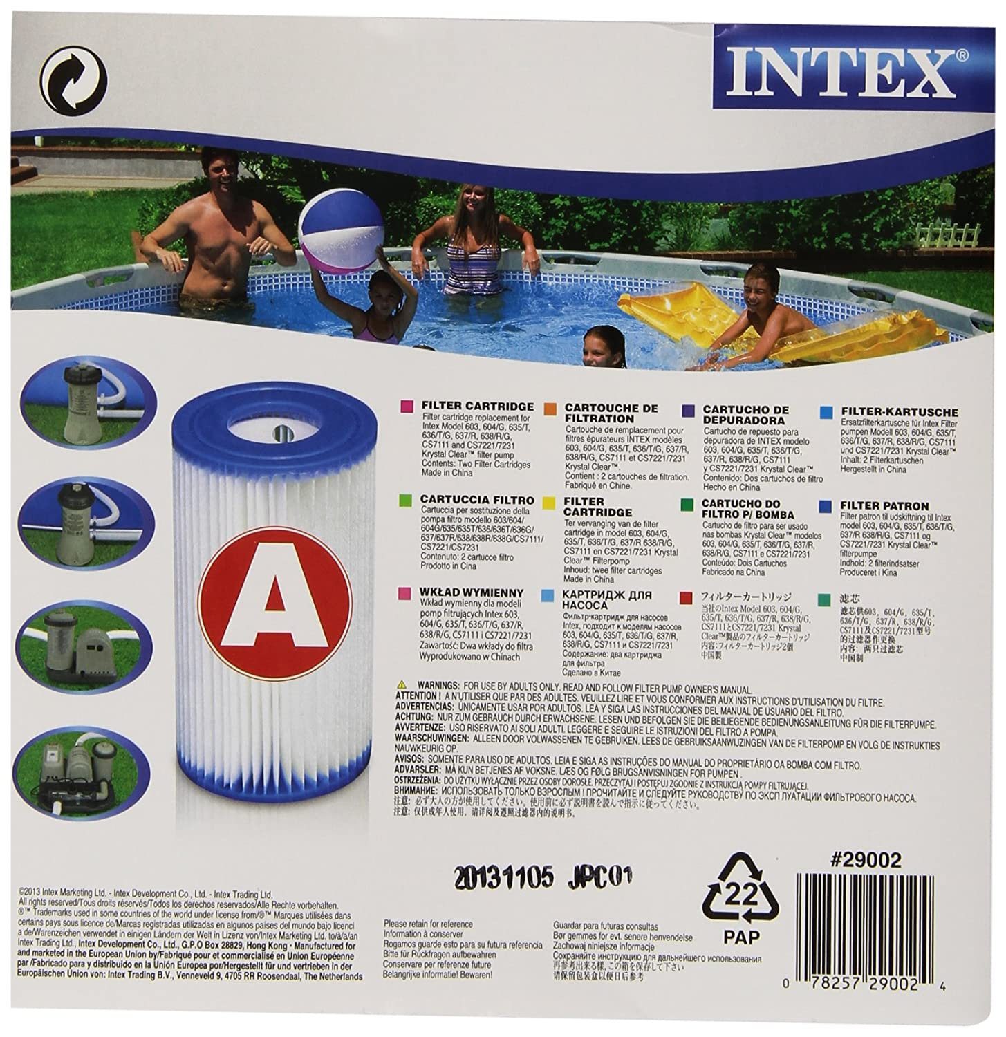 Intex 0775431 Filter Cartridge for Swimming Pool Blue 10,8 x 21,6 x 20,3 cm - set of 2 29002