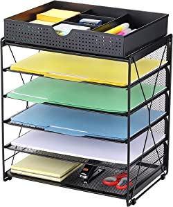CAXXA 5 Tier Mesh Letter Tray, Desk File Organizer, Desktop Paper Tray Holder with Drawer, Black
