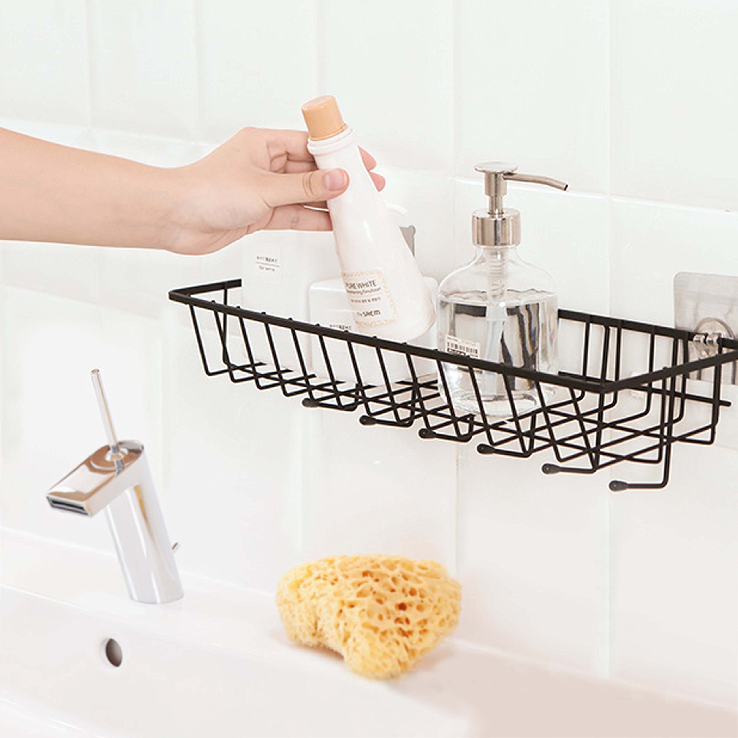 Easy Eco Life Bathroom shelf wall organizer with 6 Hooks Adhesive Pads Installation No Wall Damage -Large Size Iron Wire Painting Black