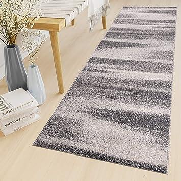 Tapiso Sari Teppich Läufer Meterware Wohnzimmer Schlafzimmer Küche Flur  Brücke nach Maß Grau Vintage Kurzflor Verwischt ÖKOTEX 60 x 120 cm