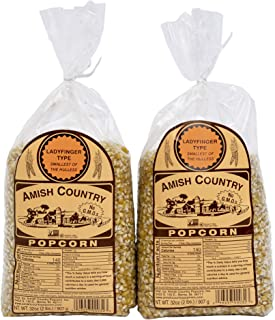 product image for Amish Country Popcorn | 2 - 2 lb Bags | Ladyfinger Popcorn Kernels | Old Fashioned with Recipe Guide