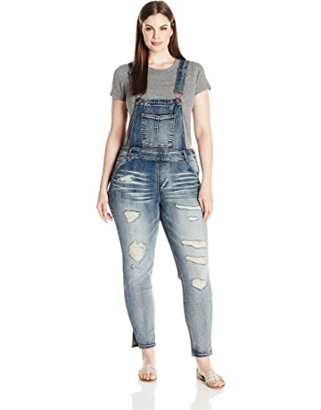 1e8ac095b9 dollhouse Women s Plus Size Destructed Skinny Overall