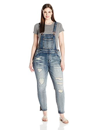 7fd0189b731b dollhouse Women s Plus Size Destructed Skinny Overall