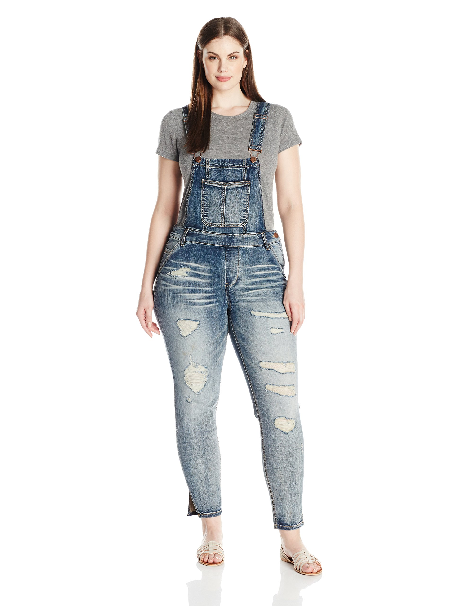 dollhouse Women's Plus Size Destructed Skinny Overall, Blizzard Blue 20W