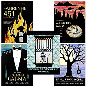 Classic Novels Movie Style Poster Set of Five. Literary Quote Set. Fine Art Paper, Laminated, or Framed. Multiple Sizes Available