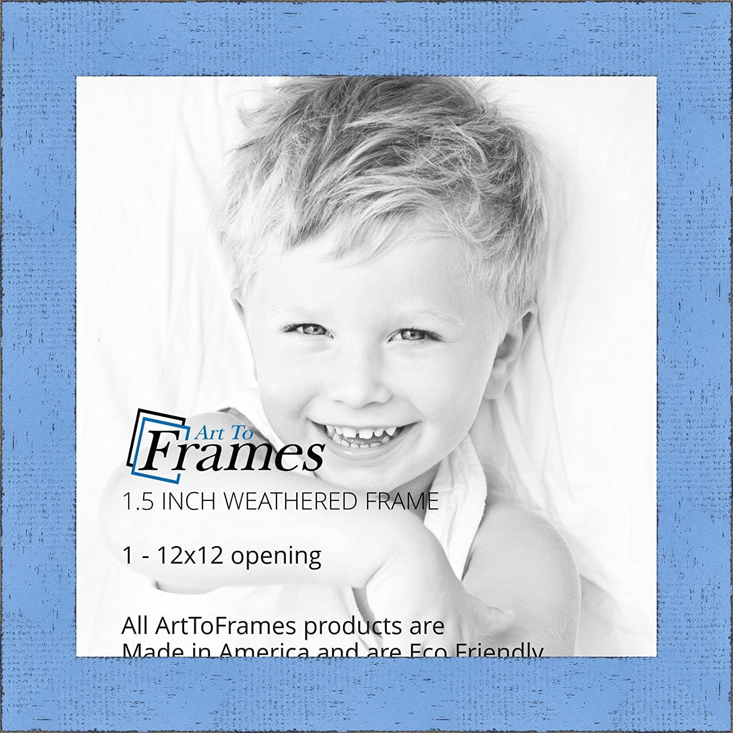 ArtToFrames 12x12 inch Weathered Barnwood in Saturated Sky Blue Wood Picture Frame WOMSM-ECO150-SBU-12x12