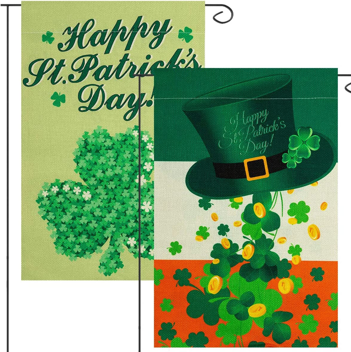 Apipi 2 Packs 12 x 18 inches Happy St. Patrick's Day Garden Flag- Green Shamrock Clover+ Leprechaun Top Hat Seasonal Double Sided Burlap House Decorative Flag for Outdoor Lawn Yard Garden Decoration