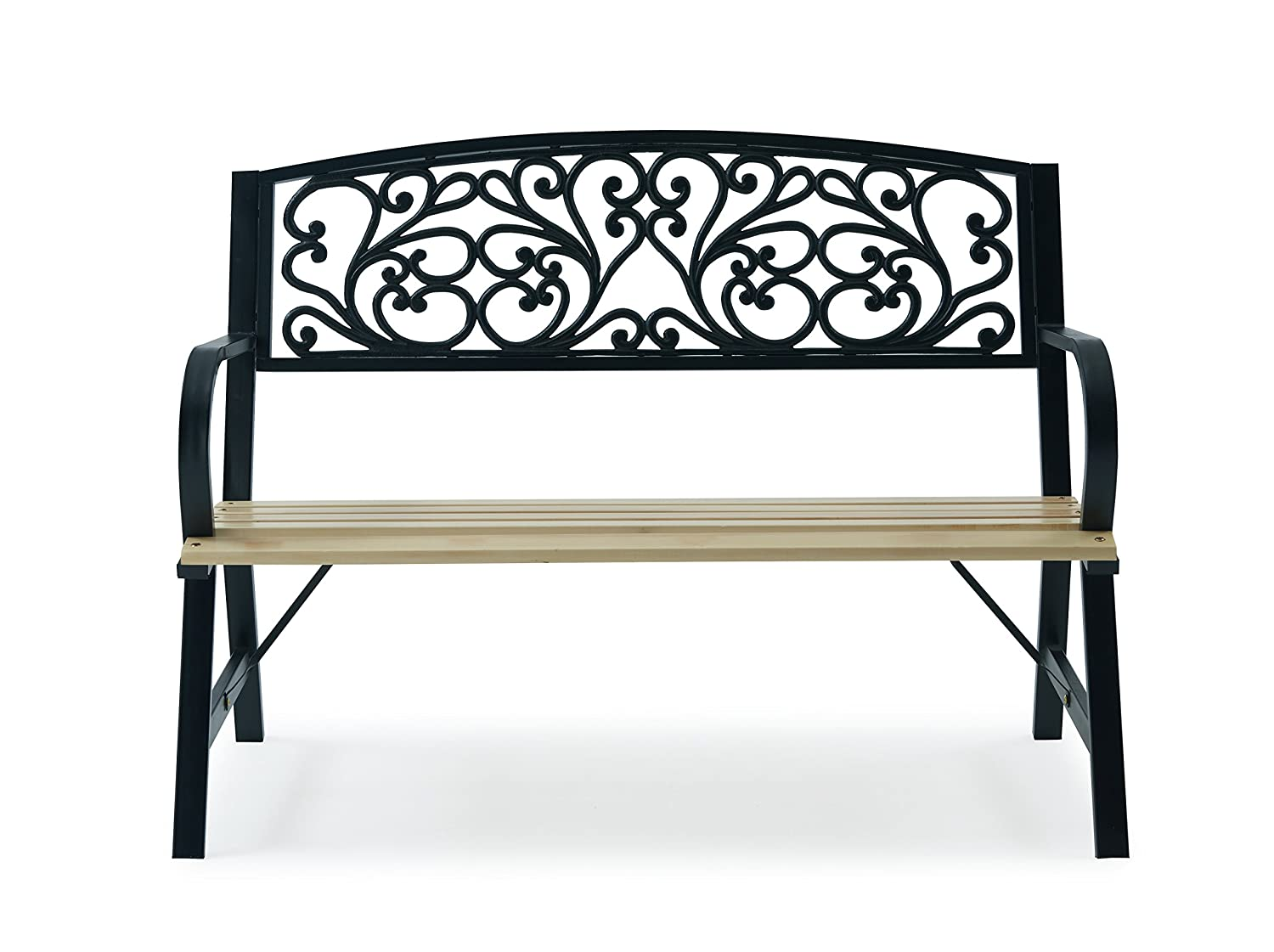 LIVIVO Cast Iron/Wood 'Fancy Floral 'Garden Bench With Elegant Floral Design Back, Natural and Comfortable Slatted Wood Seat