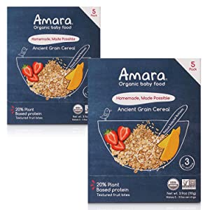 Amara Organic Baby Food   Ancient Grain   Homemade Made Possible   Mix with Breastmilk or Water   Certified Organic, Non-GMO, No Added Sugars  Stage 3   10 Pouches