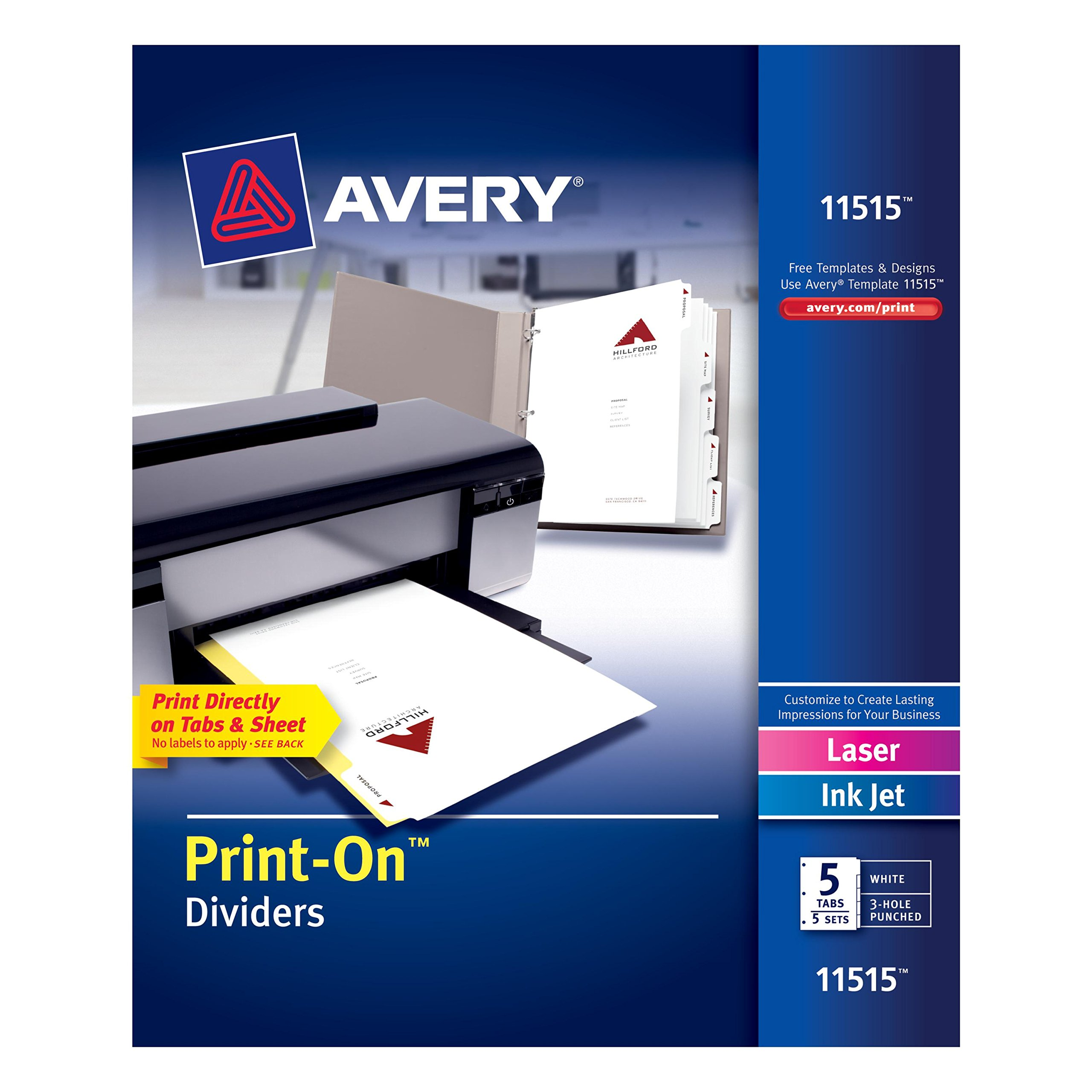 Avery Print-On Dividers, White, 5 Tabs, 5 Sets (11515)