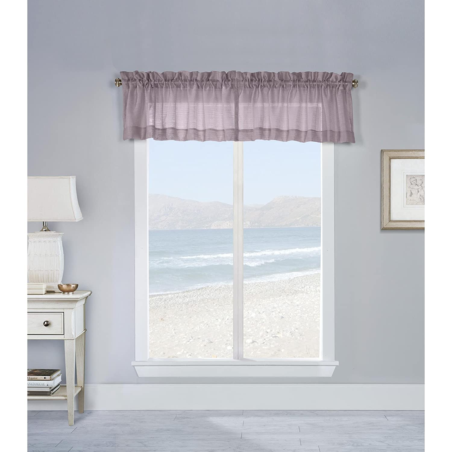 Commonwealth Mist Stripe 16 Pole Top Valance in Dusty Rose