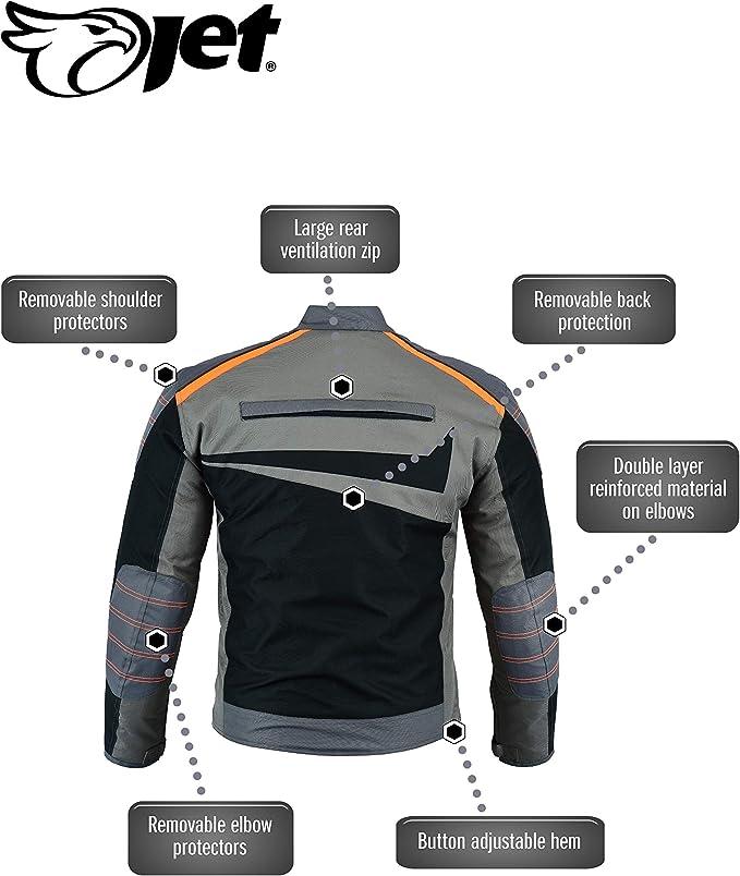 2XL, Gris//Naranja JET Chaqueta Moto Ciclomotor Hombre Textil Ventilaci/ón con Protecciones Ligero Basic ESSENTIALS