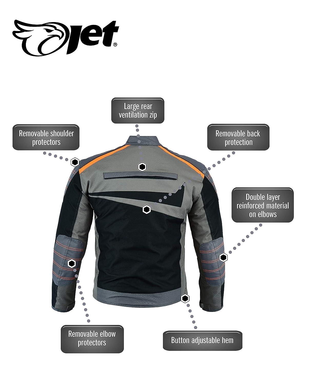 Gris Orange, L JET Blouson Veste Moto Cyclomoteur Scooter Homme Homologu/é Armure Ventilation Textile Poids L/éger De Base Essentials