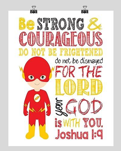 Flash Christian Superhero Wall Art Nursery Decor Print   Be Strong U0026  Courageous Joshua 1: