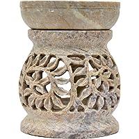 Brûle-parfum bombé Diffuseur pour bougies chauffe-plat hauteur 11cm Grille décorative motif Plantes grimpantes Lierre Lumignon en Stéatite pierre à savon Artisanat indien