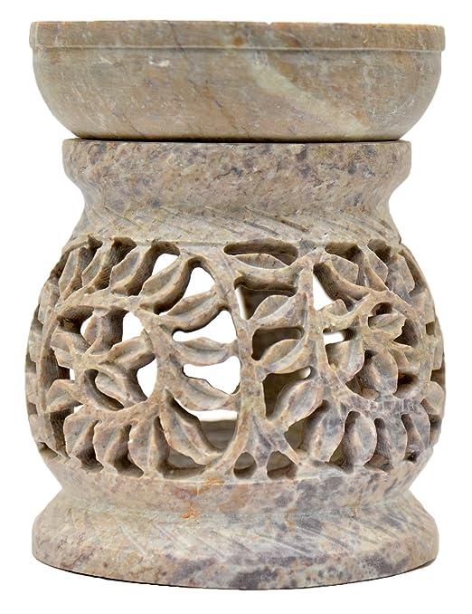 Lámpara aromática 11 cm lianas ramas enredaderas forma de tonel piedra de jabón decoración