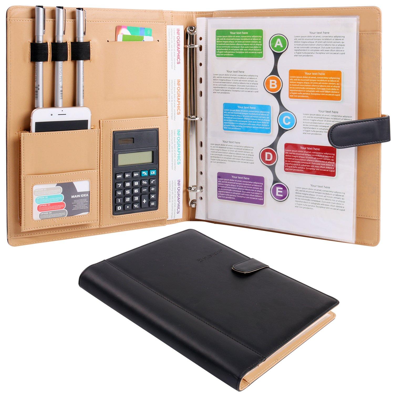 Z PLINRISE Plinrise High Grade Multifunction Letter Size Padfolio/Resume Portfolio Folder-Document Organizer/Business Card Holder With Calculator And 8 File Pockets (Black)