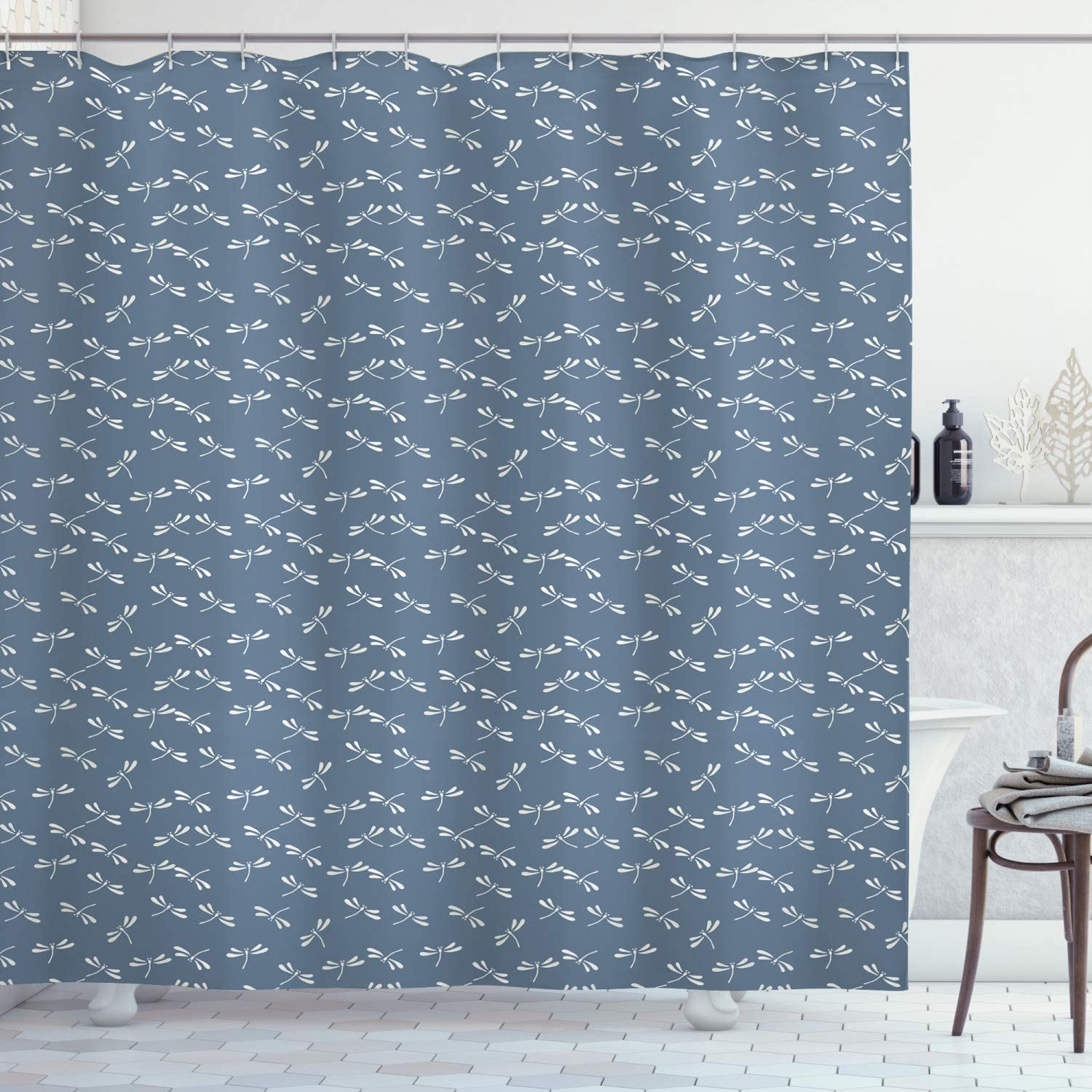"""Ambesonne Dragonfly Shower Curtain, Tropical Wildlife Pattern Japanese Style Oriental Nature Inspired Pattern, Cloth Fabric Bathroom Decor Set with Hooks, 70"""" Long, Slate Blue"""