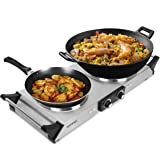 Duronic HP2SS Hot Plate for Table-Top Cooking | 2500W | 2 Cast Iron Hob Rings (1500W & 1000W) | Stainless-Steel Electric Double Hob with Handles | For Cooking, Boiling, Frying, Simmering