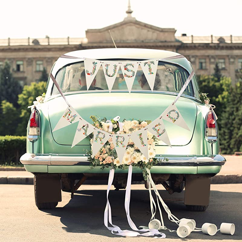 Amazon Com Just Married Wedding Car Decorations Sign
