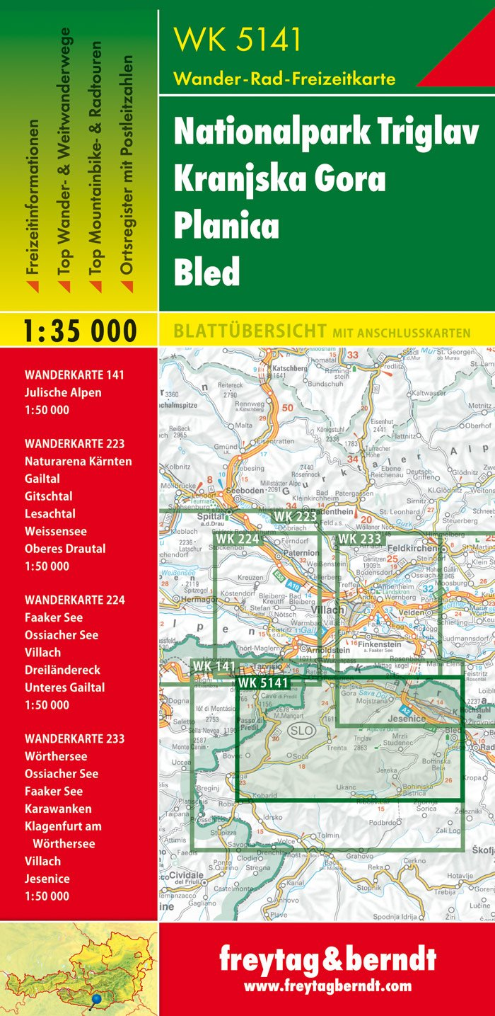 Slovenia WK5141: Triglav National Park - Kranjska Gora-Planica-Bled (Walking Maps) 1:35K (English, French and German Edition) by Freytag-Berndt
