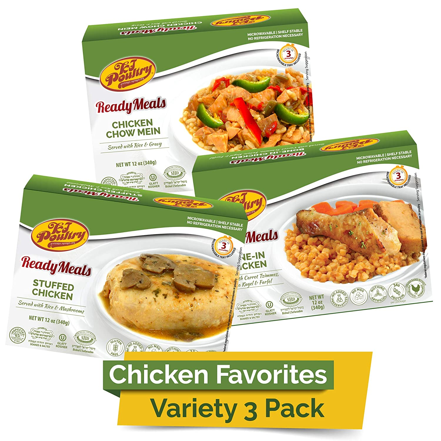 Kosher Mre Meat Meals Ready to Eat, Chicken Favorites Variety (3 Pack) - Prepared Entree Fully Cooked, Shelf Stable Microwave Dinner - Canned Goods Emergency Storage Kit, Military Survival Food Supply