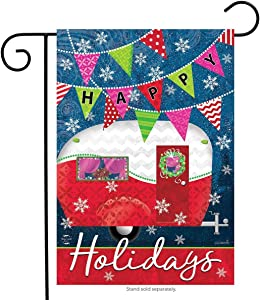 "Briarwood Lane Happy Holidays Camper Primitive Garden Flag Christmas Festive 12.5"" x 18"""