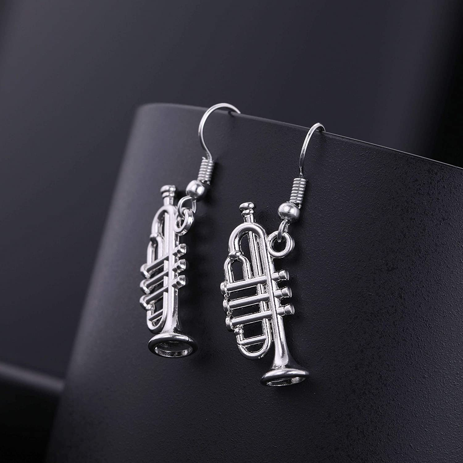 TEAMER Trumpet Music Charm Dangle Earrings Musical Instrument for Music Lovers Jewelry