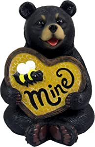 DWK Bee My Honey Collectible Hand-Painted Honey Bear Figurine Be Mine | Bear Decor Gift Home Office Accent | Log Cabin Decor | Bear Home Decorations- 6inch