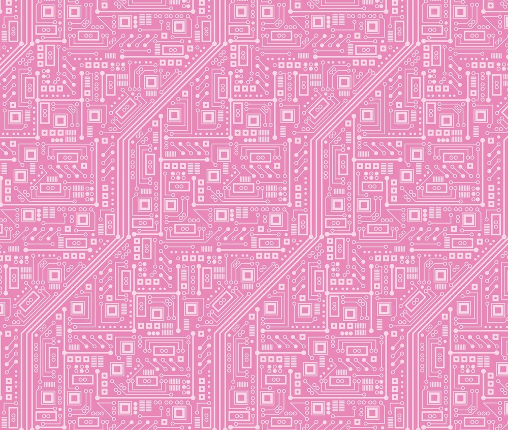 Computer Fabric Robotika Circuit Board Pink By Twoboos Spoonflower Robyriker Printed On Kona Cotton Ultra The Yard