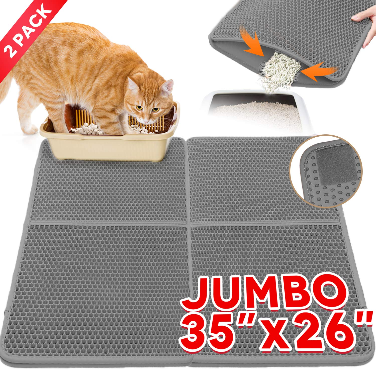 2 Pieces Cat Litter Mat Litter Trapper Cat Litter Mat Anti-Tracking Trapping Jumbo Size Honeycomb Double-Layer Design Waterproof Urine Proof Material Mat For Trapper Black Hole Litter Box Easy Clean c by lesotc