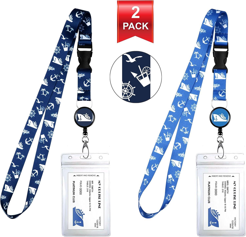 2-Pack Cruise Lanyard & Waterproof ID Key Card Holder Clip. Matching Retractable Badge Reel. Bonus Travel Organizer Bag. Essential Cruise Ship Accessories. Cruise Symbols 1 Blue & 1 Lite Blue
