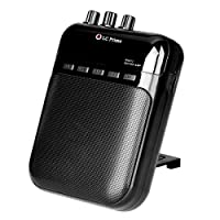 """Guitar Amp Mini Portable Clip Amplifier Speaker Recorder 2 in 1 Chargeable w/ TF Card Slot for Acoustic Electric Guitar, Electric Guitar, Electric Violin Accept 1/4"""" Guitar Cable Plastic Black, by LC Prime"""