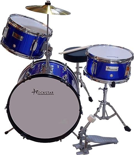 Bateria Infantil para niños de madera Rockstar GC1042BL azul metalizado: Amazon.es: Instrumentos musicales