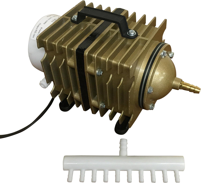 Pond Air Pump Koi Fish Pond Hydroponic Piston Compressor Fish Tank Aquarium 20-90l//m 90 Litres // Min