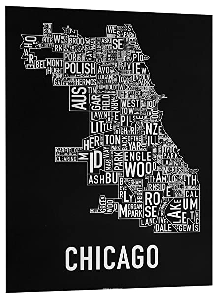 Chicago neighborhoods map art screen print black