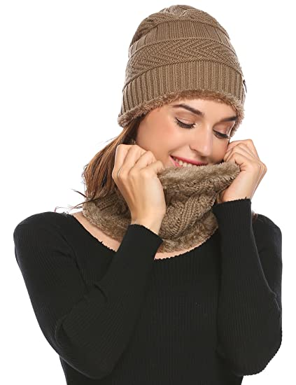 Zeagoo Beanie Hat Scarf Set Warm Knit Hat Thick Knit Skull Cap for Men and  Women 26f0ed4b812