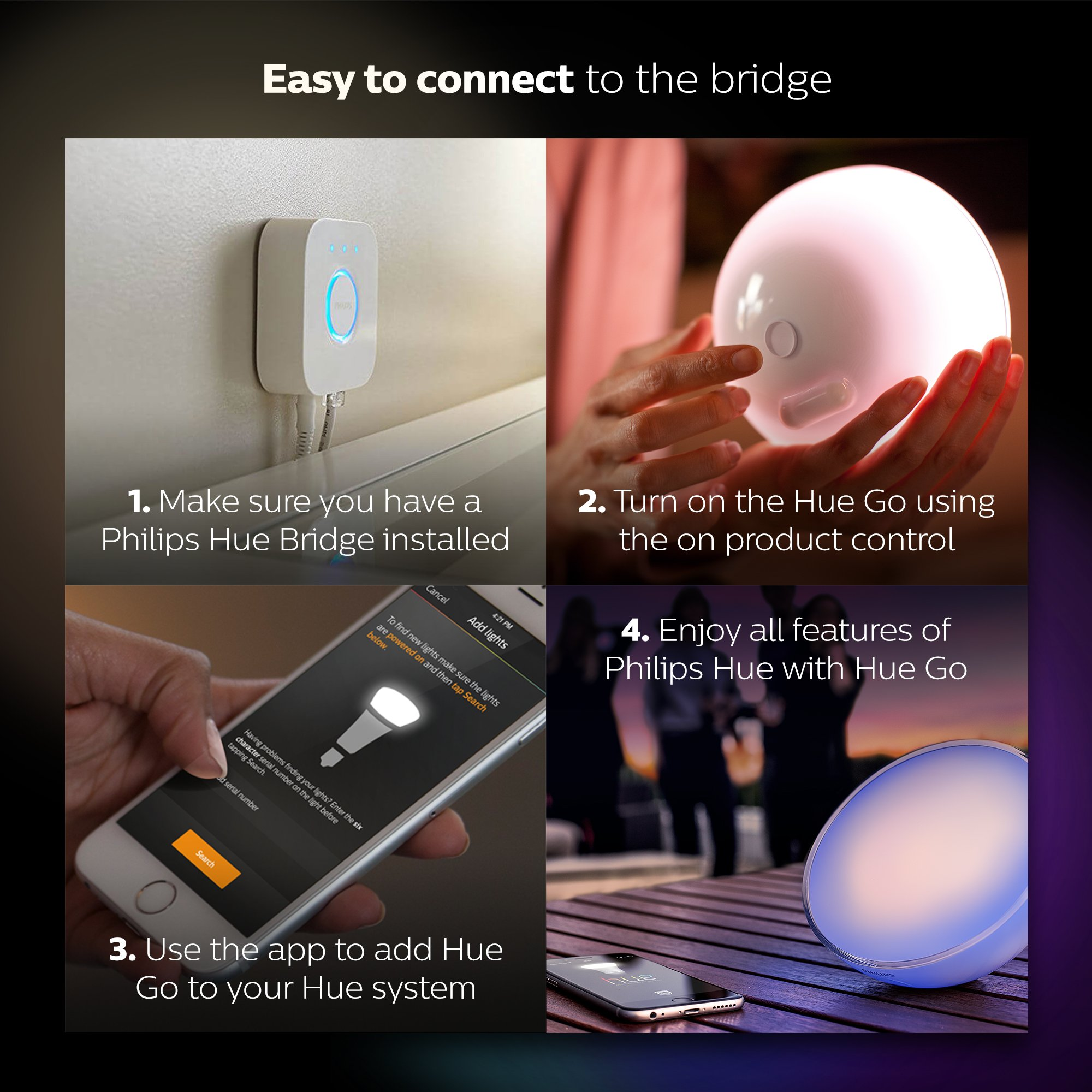 Philips Hue Go White and Color Portable Dimmable LED Smart Light Table Lamp (Requires Hue Hub, Works with Alexa, HomeKit and Google Assistant) by Philips Hue (Image #7)