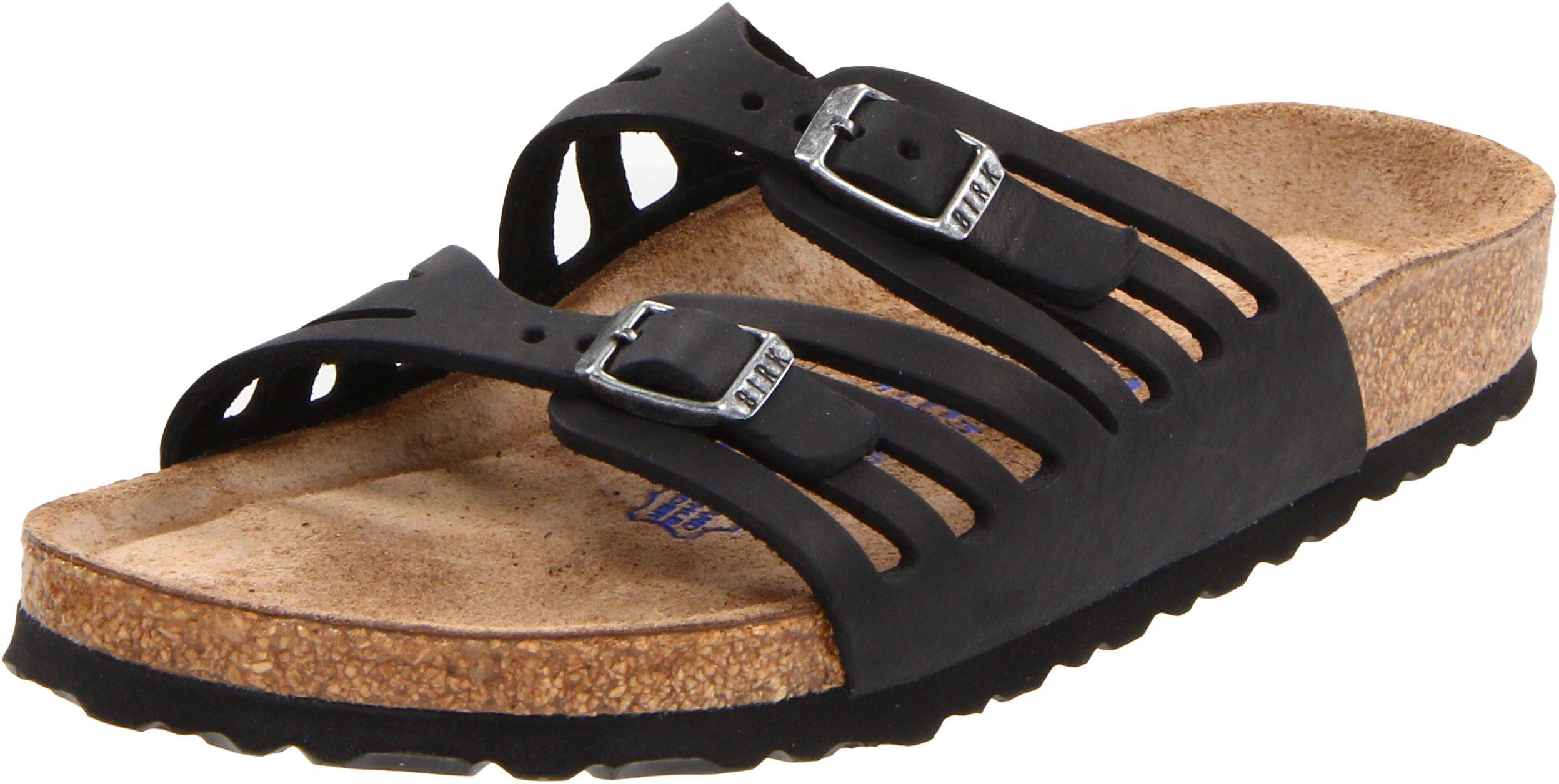 Birkenstock Women's Granada Soft Footbed Sandal,Black Oiled Leather,38 N EU