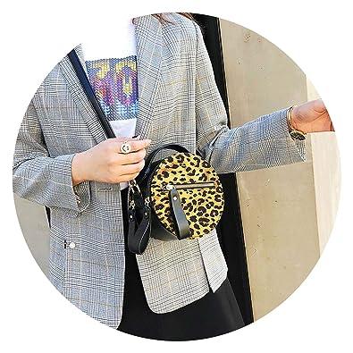 2018 on Leopard Handbag Retro ies Circular Bag Round, Brown ...