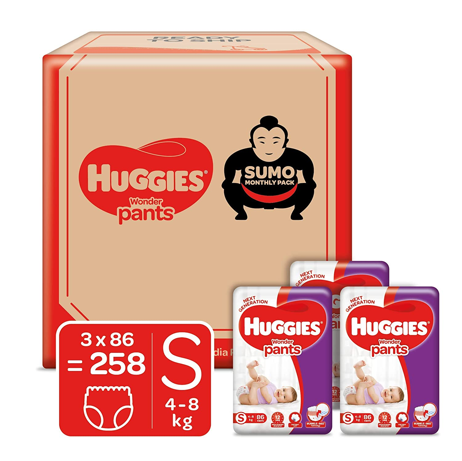 Huggies Wonder Pants, Sumo Monthly Box Pack Diapers, Small Size, 258 Count