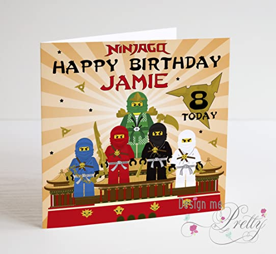 Lego Ninjago Personalised Birthday Card Amazoncouk Handmade