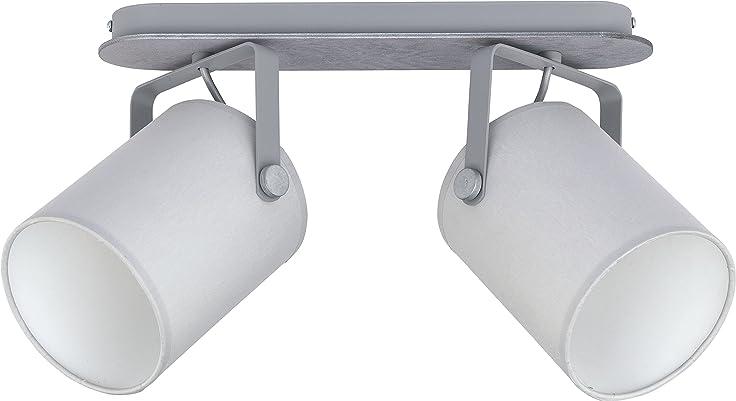 Deckenleuchte Wohnzimmer Lampe E27 Leuchte Schlafzimmer Schwenkbar Weiss  Schwarz Grau (Grau 2)