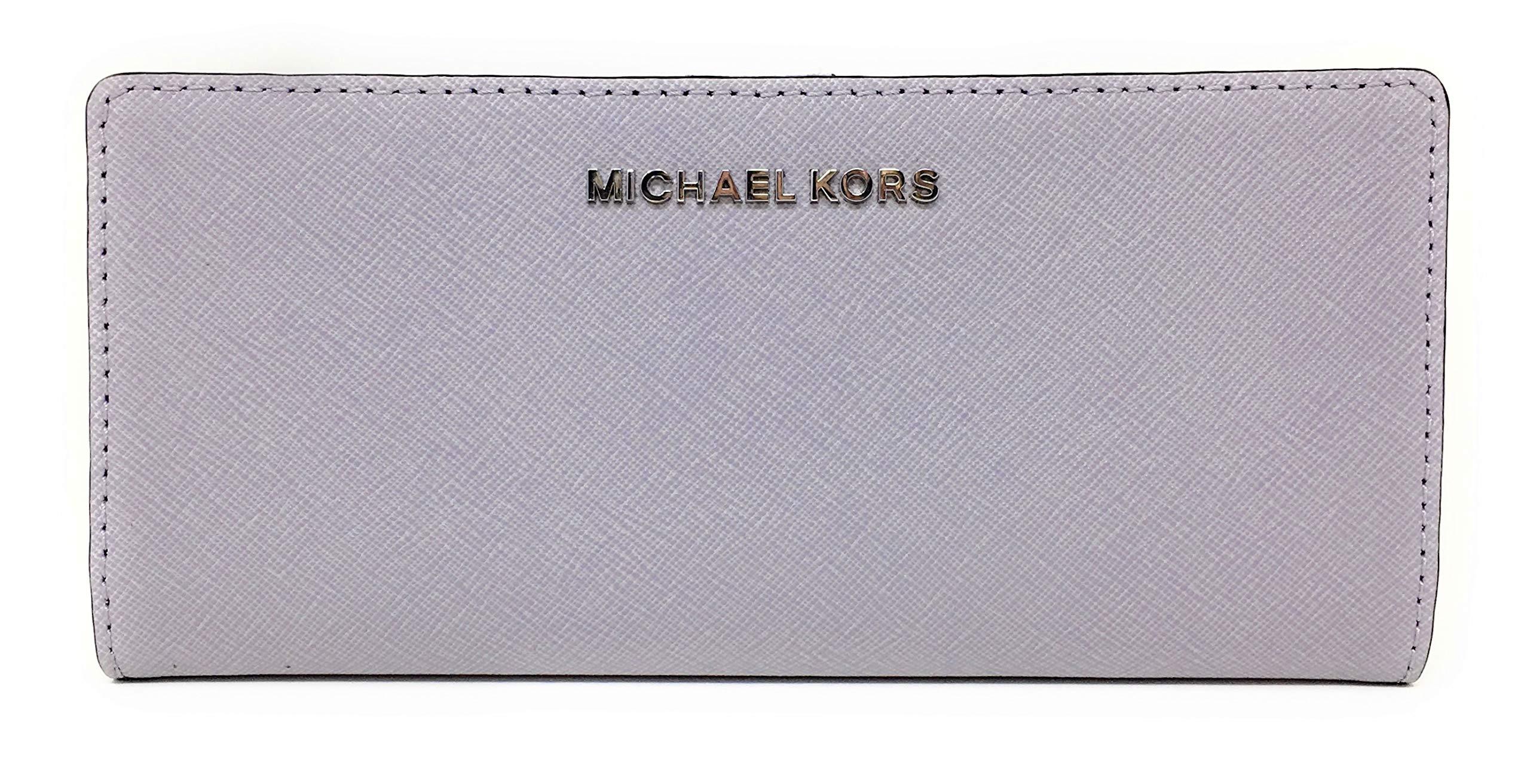 Michael Kors Jet Set Travel Flat Slim Bifold Saffiano Leather Wallet (Lilac)