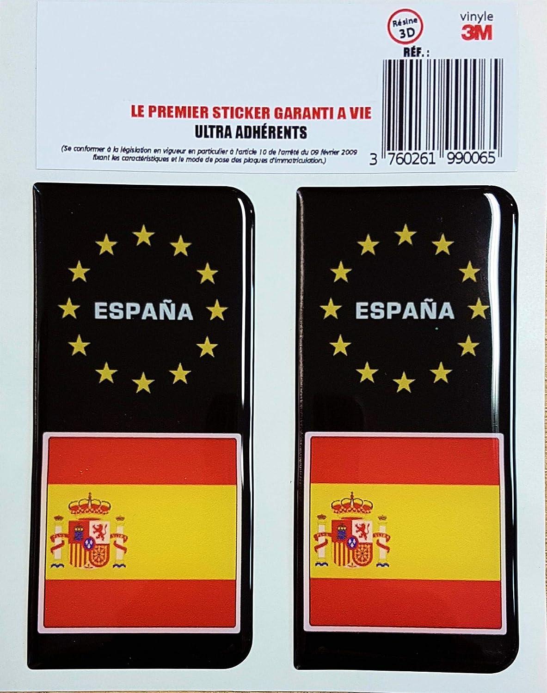 Amazon.es: Raceflag - 2 pegatinas adhesivas para placas de matrícula de España (resina 3D