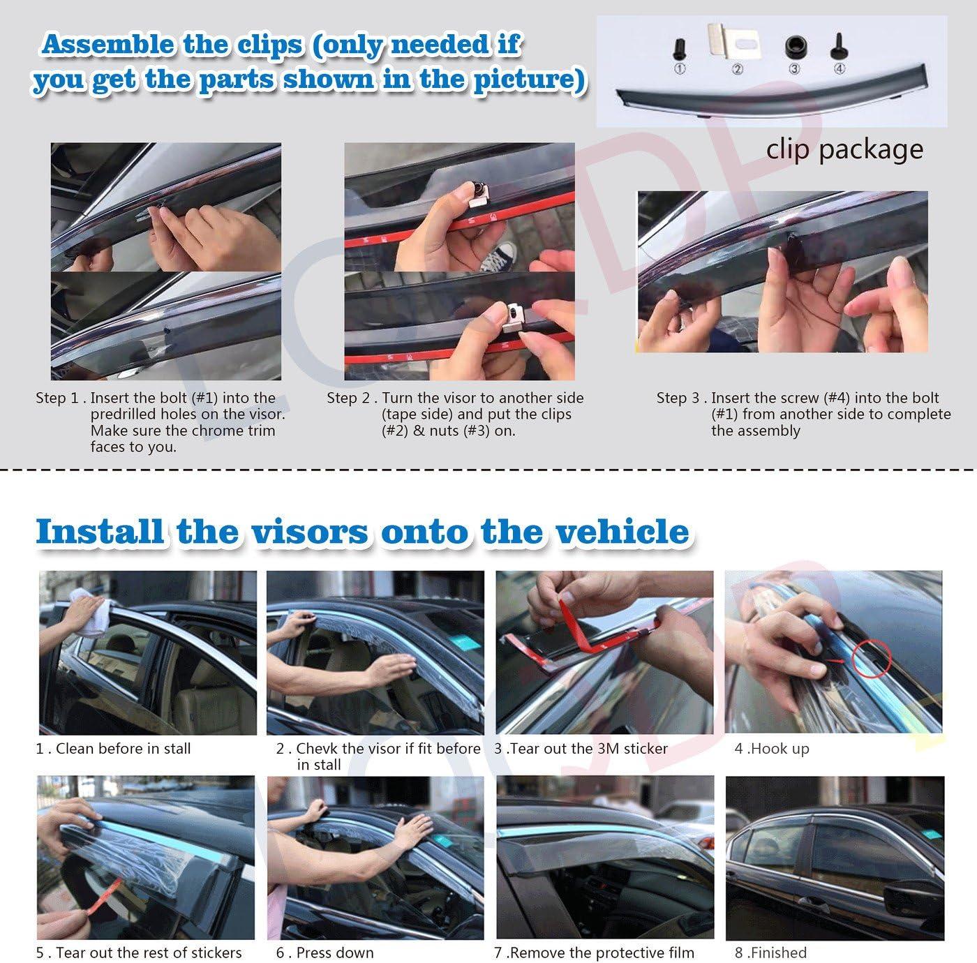 LQQDP 4pcs JDM Smoke Tint Outside Mount Tape On//Clip On Style PVC Sun Rain Guard Vent Window Visors Fit 11-20 Toyota Sienna