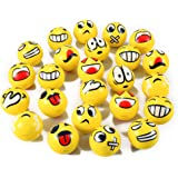 Set of 24 Emoji Face Yellow Foam Soft Stress Novelty Toy Balls (3 inches)