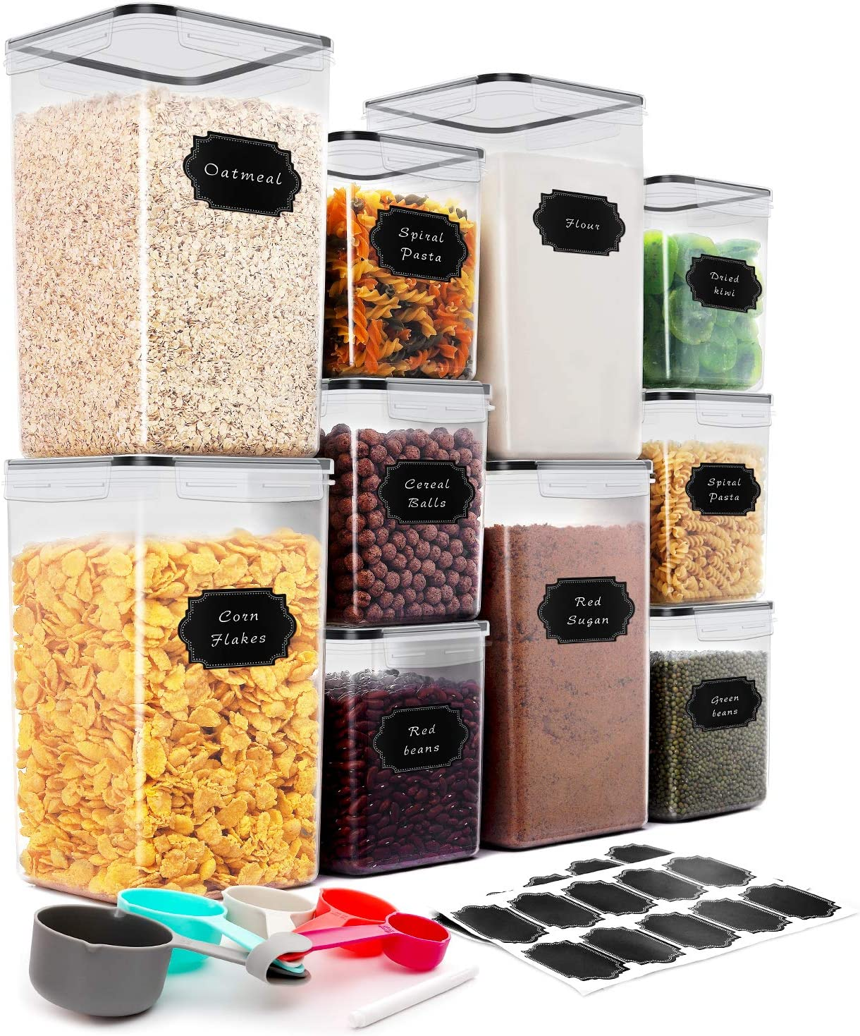 Extra Large Tall Airtight Food Storage Containers, THLEITE 10 Pcs(220oz & 85oz) - BPA Free Kitchen Pantry Storage Containers for Spaghetti, Flour and Baking Supplies - Measuring Spoons & Pen & Labels