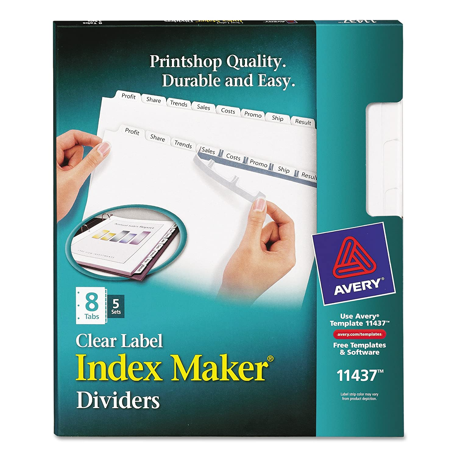 Amazon Avery Lsk8 Index Maker Clear Label Dividers With White